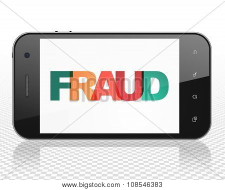 Protection concept: Smartphone with Fraud on  display