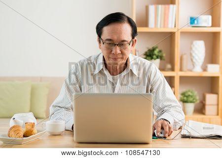 Working on laptop
