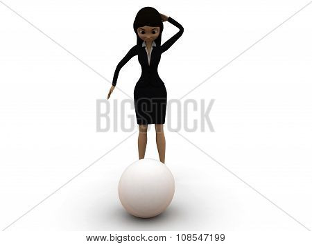 3D Woman Looking At Spherical Ball Concept