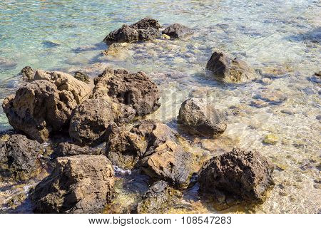 Boulders And Cobblestones On The Sea Coast