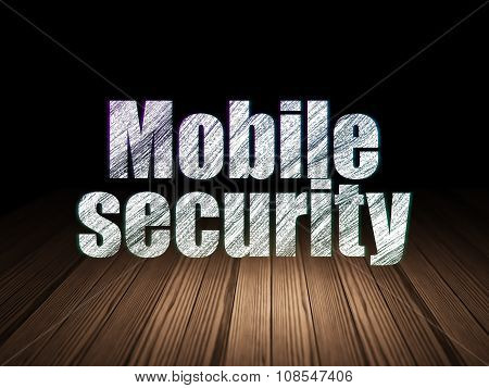 Safety concept: Mobile Security in grunge dark room