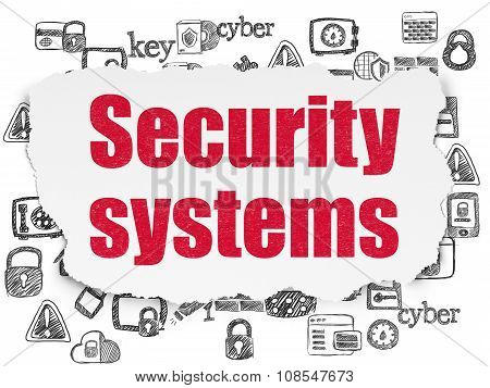 Privacy concept: Security Systems on Torn Paper background
