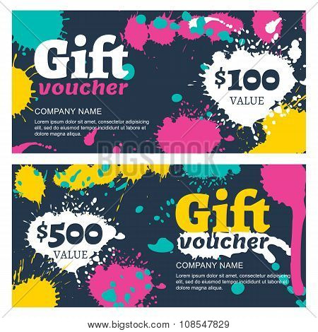 Vector Gift Voucher With Watercolor Splashes, Blots.