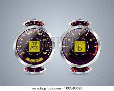 Shiny Metallic Speedometer And Rev Counter