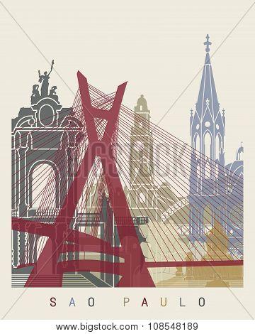 Sao Paulo Skyline Poster