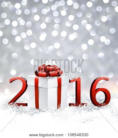 2016 New Year background with gift. Vector paper illustration.
