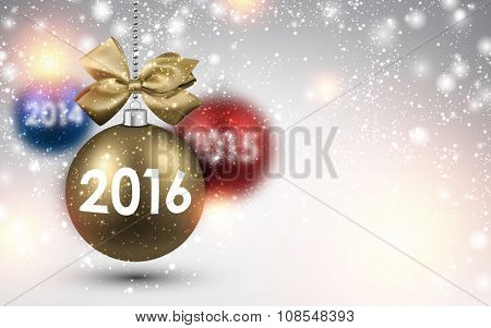 2016 New Year background with color balls. Vector illustration.