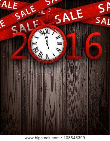 Wooden sale 2016 background with clock. Vector illustration.