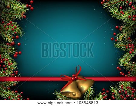 Christmas background with fir branches and bells. Vector illustration.
