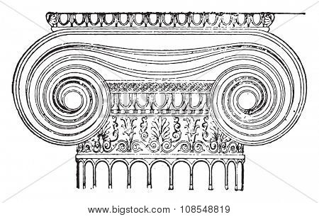 Ionic capital, vintage engraved illustration. Industrial encyclopedia E.-O. Lami - 1875.