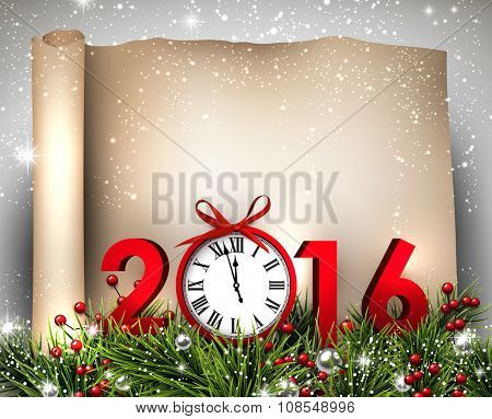 New Year 2016 background with fir branch and clock. Vector illustration.
