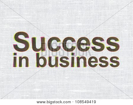 Finance concept: Success In business on fabric texture background