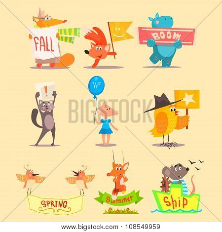 Flat Season Animal Icons. Vector Illustrations