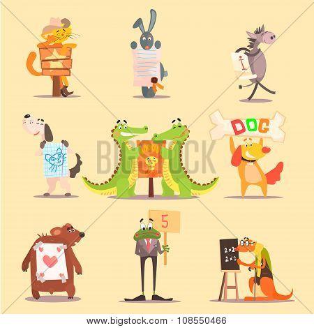Cute Animals Cartoon Illustrator Flat Design
