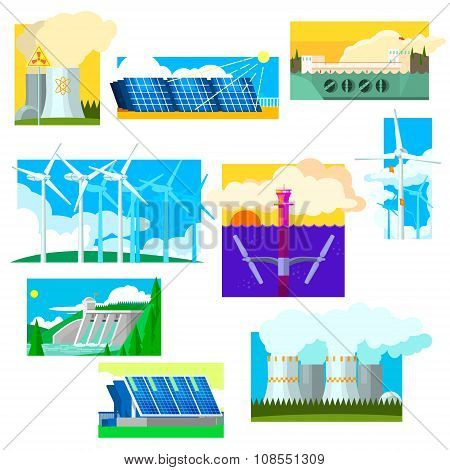 Eco Energy Symbols Set. Vector Illustration