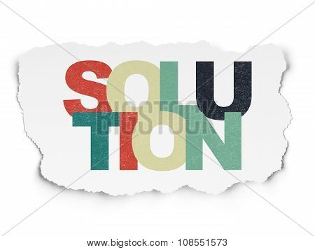 Finance concept: Solution on Torn Paper background