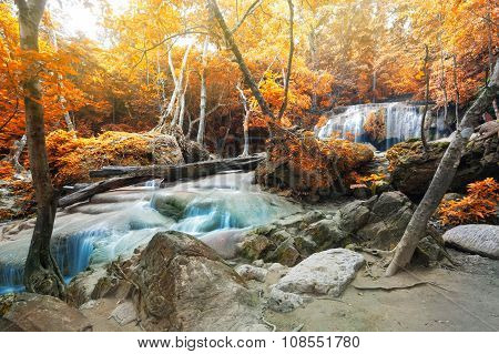 Deep Forest Waterfall In Autumn Scene At Erawan Waterfall National Park Kanjanaburi Thailand