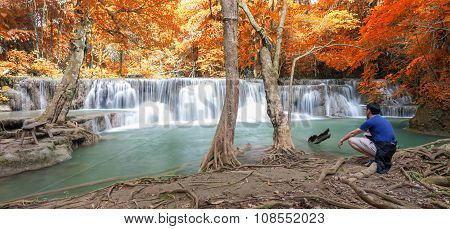 Deep Forest Waterfall In Autumn Scene At Huay Mae Kamin Waterfall National Park Kanjanaburi Thailand