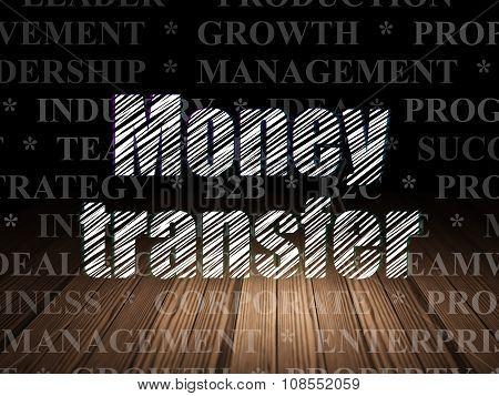 Finance concept: Money Transfer in grunge dark room