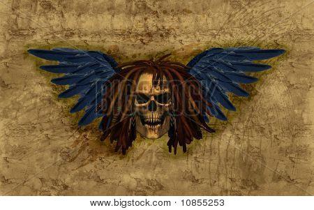 Winged Skull With Dreadlocks On Grunge