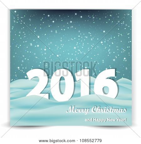 Christmas Background With Snow-drifts And The Year 2016.