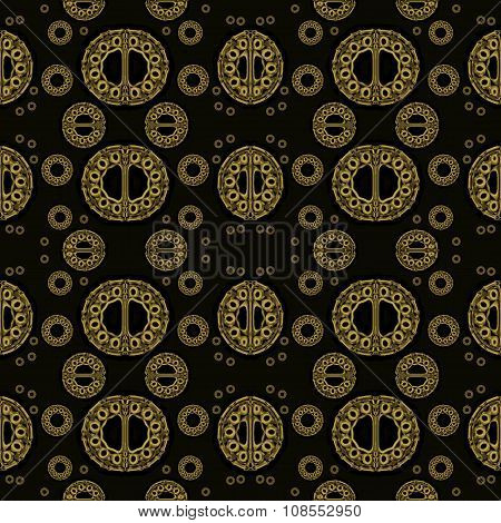 Seamless circle and ellipses pattern gold brown, jewelry background