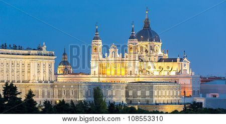 Almudena Cathedral at dusk. Madrid, Spain