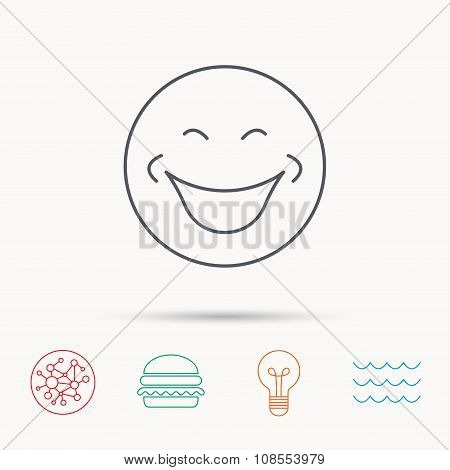 Smile icon. Positive happy face sign.