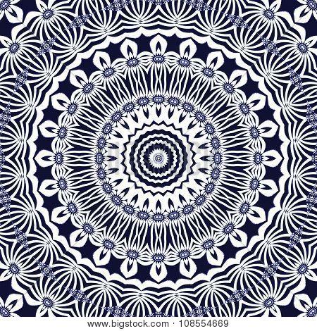Seamless circle pattern white dark blue