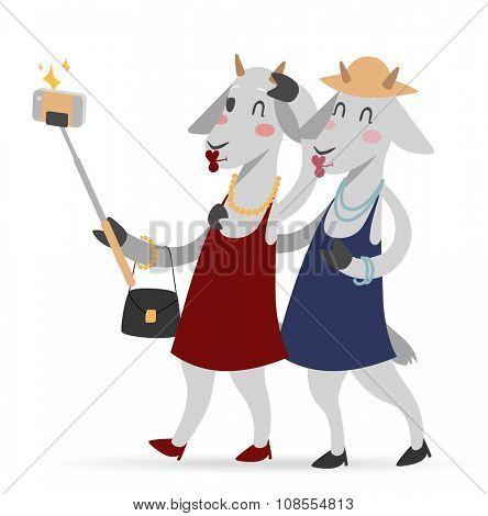 Selfie photo goat girls couple frinds vector portrait illustration on white background. Goat girls. Selfie goat woman shopping sale girls Goat animal shopping. Goats couple friends fashion-monger show