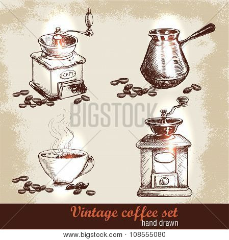 Vintage hand drawn coffee set with coffee beans