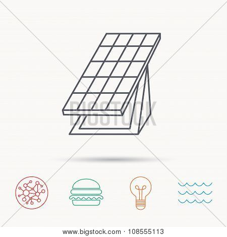 Solar collector icon. Sunlight energy battery.