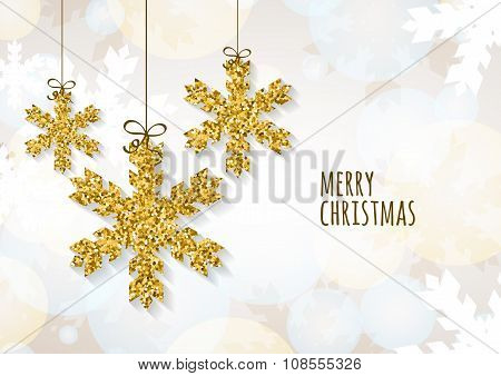Vector Christmas Or New Year Greeting Card Template With Golden Glitter Snowflakes.