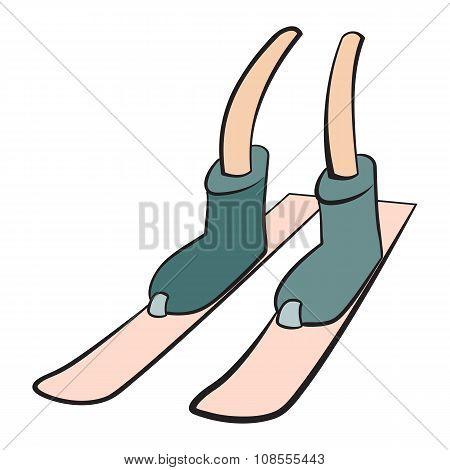 Cartoon leg skiing sign