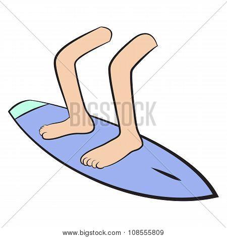 Feet on board surfing