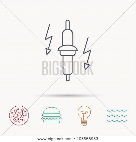 Spark plug icon. Car electric part sign.