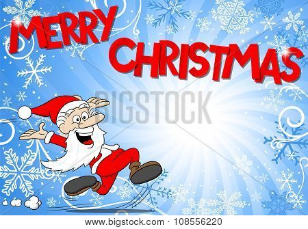 Blue Christmas Background With Santa Claus