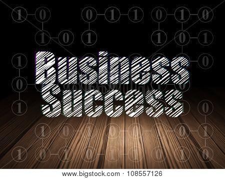 Business concept: Business Success in grunge dark room