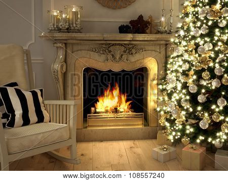 living room at Christmastime. 3d rendering
