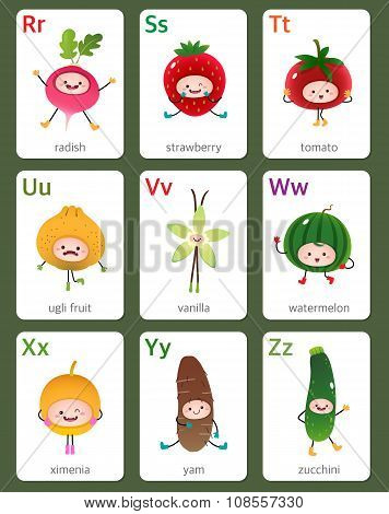 Printable Flashcard English Alphabet From R To Z With Fruits And Vegetables
