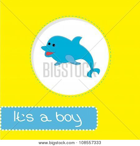 Baby Shower Card With Dolphin. It's A Boy