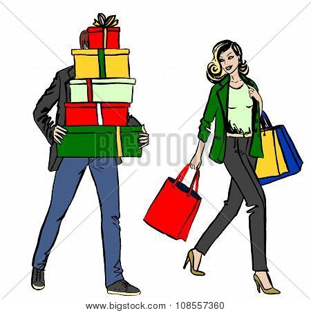 woman and man with shopping bag