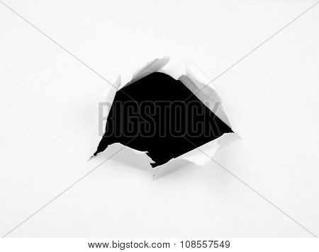 Black hole in white paper