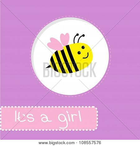 Baby Shower Card With Bee. It's A Girl