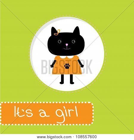 Baby Shower Card With Cat. It's A Girl