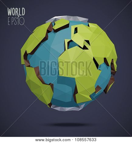 Low poly vector world globe illustration. Polygonal earth.