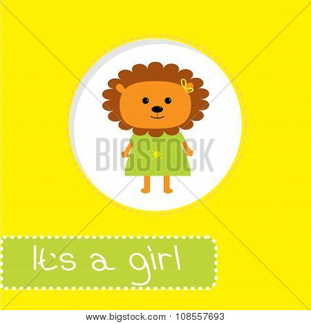 Baby Shower Card With Lion. It's A Girl