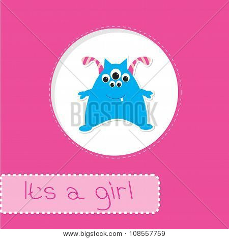 Baby Shower Card With Monster. It's A Girl