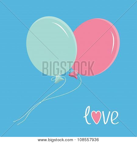 Two Flying Balloons. Love Card.