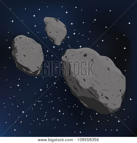 vector illustration of an asteroid and meteorite.